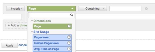Analtycs: Opciones de filtrado en detalle