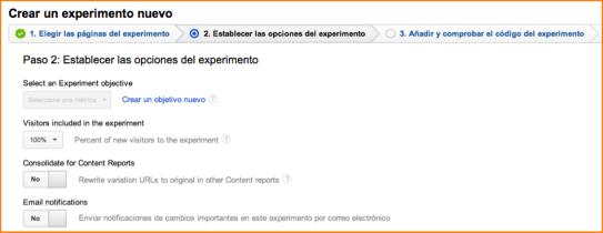 Lanzar Experimentos con Google Analytics (3)