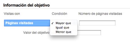 Google Analytics: Objetivo de Páginas por Visita