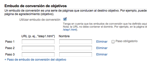 Google Analytics: Pasos del Embudo de Conversion